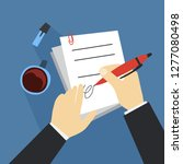 hand sign document using pen.... | Shutterstock .eps vector #1277080498