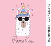 cute unicorn cartoon hand drawn ... | Shutterstock .eps vector #1277131942