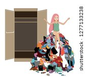 nothing to wear concept  young... | Shutterstock .eps vector #1277133238