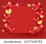 group of heart on red paper.... | Shutterstock .eps vector #1277149792