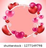 heart balloons on circle frame... | Shutterstock .eps vector #1277149798