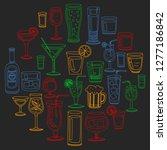 vector set of popular cocktails ... | Shutterstock .eps vector #1277186842