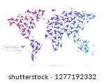 polygonal abstract world map.... | Shutterstock .eps vector #1277192332