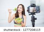 portrait of beauty blogger... | Shutterstock . vector #1277208115