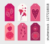 valentine gift tags with leaves ... | Shutterstock .eps vector #1277218018