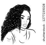 curly beauty girl illustration... | Shutterstock .eps vector #1277235028