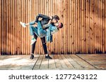 young stylish couple spends... | Shutterstock . vector #1277243122