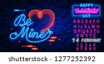 neon sign  the word be mine...   Shutterstock .eps vector #1277252392