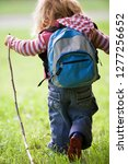young girl child hiking in... | Shutterstock . vector #1277256652