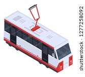 city tram car icon. isometric... | Shutterstock .eps vector #1277258092