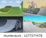 skate park banner set. cartoon... | Shutterstock .eps vector #1277277478