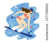 cartoon snowboarder girl in... | Shutterstock .eps vector #1277330032