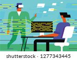 virtual reality programmers are ... | Shutterstock .eps vector #1277343445
