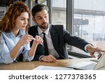 man and woman having business... | Shutterstock . vector #1277378365