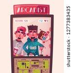 friends is gaming. nerd's room... | Shutterstock .eps vector #1277383435