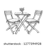 garden furniture  table and two ... | Shutterstock .eps vector #1277394928