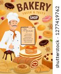 baker with bread and pastries ... | Shutterstock .eps vector #1277419762