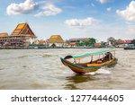 long tail boat in chao phraya...   Shutterstock . vector #1277444605