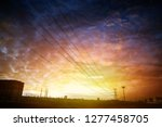 electricity pylons at city sky | Shutterstock . vector #1277458705