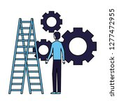 businessman with gears and...   Shutterstock .eps vector #1277472955