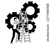 business man climb stairs gears ...   Shutterstock .eps vector #1277480008