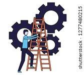business man climb stairs gears ...   Shutterstock .eps vector #1277480215