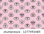 seamless pattern with eyes... | Shutterstock .eps vector #1277492485