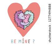 vector cute hedgehog hug heart... | Shutterstock .eps vector #1277494888