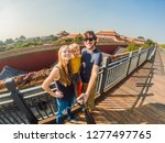 enjoying vacation in china.... | Shutterstock . vector #1277497765