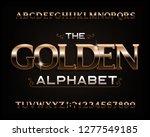 golden alphabet font. serif...   Shutterstock .eps vector #1277549185