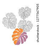 vector tropical pattern with... | Shutterstock .eps vector #1277567905