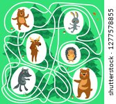 maze game for kids  help teddy... | Shutterstock .eps vector #1277578855
