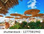beautiful tropical resort with... | Shutterstock . vector #1277581942