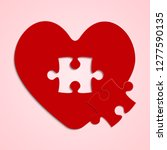 red pieces puzzle of romantic... | Shutterstock .eps vector #1277590135