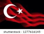turkey's national flag of neon... | Shutterstock . vector #1277616145