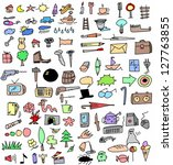 big set color hand drawn objects | Shutterstock . vector #127763855