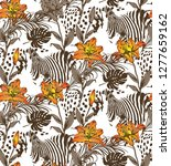 pattern of lily and animal... | Shutterstock .eps vector #1277659162