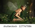 an illustration of a nymph who... | Shutterstock . vector #127767086