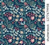 retro hand draw flower pattern... | Shutterstock . vector #1277679958
