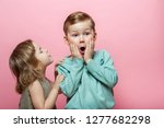 stylish little girl whispering... | Shutterstock . vector #1277682298