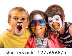 children's group with animal... | Shutterstock . vector #1277696875