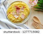 close up of spaghetti carbonara ... | Shutterstock . vector #1277715082
