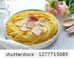 close up of spaghetti carbonara ... | Shutterstock . vector #1277715085