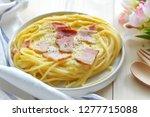 close up of spaghetti carbonara ... | Shutterstock . vector #1277715088