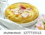 close up of spaghetti carbonara ... | Shutterstock . vector #1277715112
