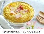 close up of spaghetti carbonara ... | Shutterstock . vector #1277715115