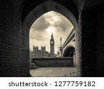 monochrome london. big ben and... | Shutterstock . vector #1277759182