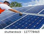technician installing solar... | Shutterstock . vector #127778465