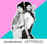 two young girl friends standing ... | Shutterstock . vector #1277792212
