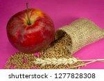 red apple  fresh raw wheat... | Shutterstock . vector #1277828308